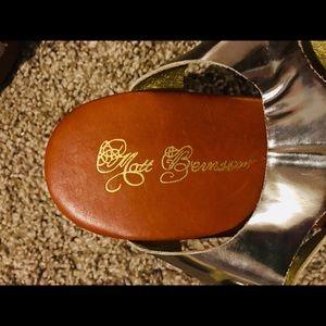 Matt Bernson Shoes - Matt Bernson Gold Gladiator Wood Wedges Size 9